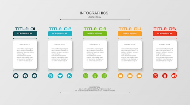 Infographics ontwerpsjabloon met pictogrammen met 5 stappen of opties