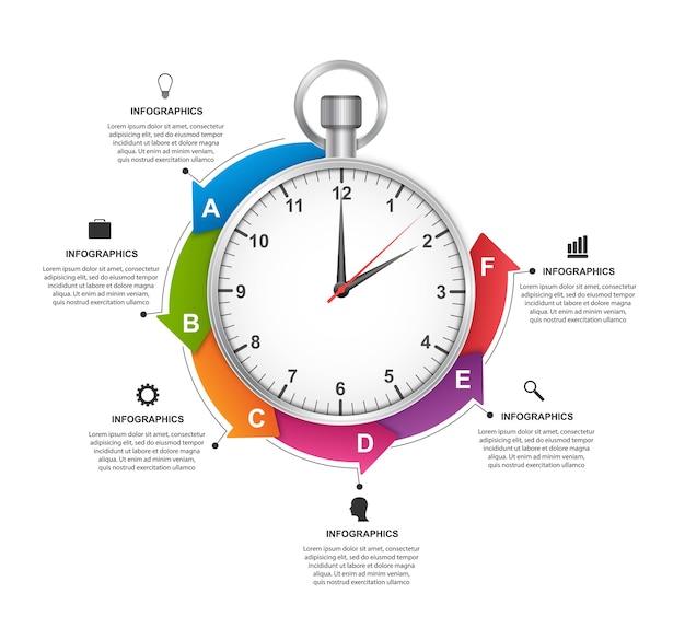 Infographics ontwerpsjabloon stopwatch