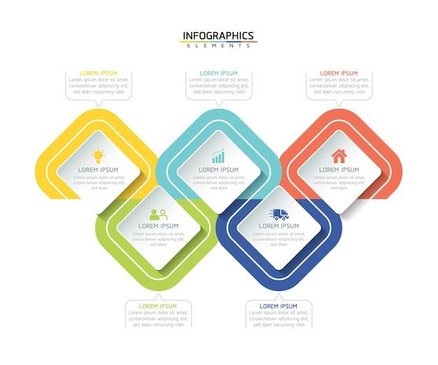 Infographics ontwerpsjabloon zakelijke informatie presentatie grafiek met 5 opties of stappen