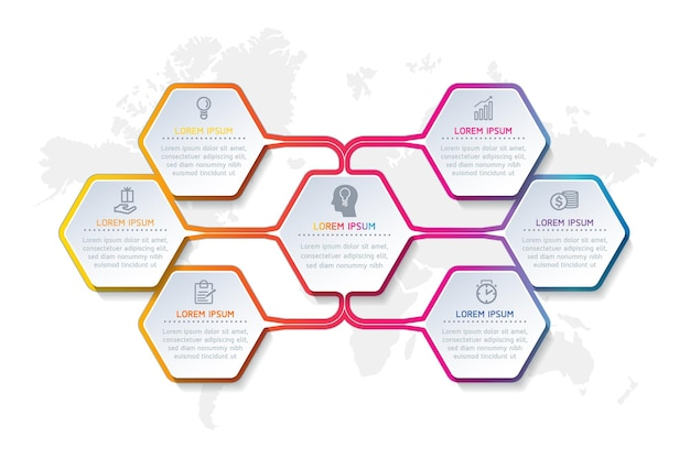 Infographics ontwerpsjabloon zakelijke informatie presentatie grafiek met 6 opties of stappen