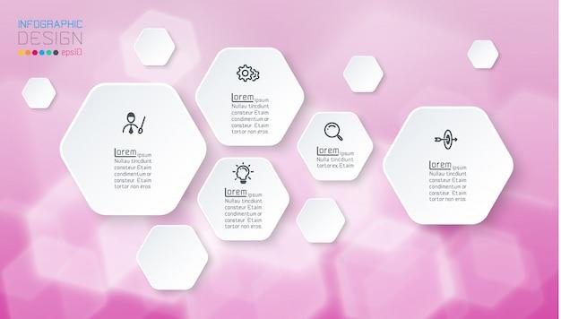 Infographics op paarse bokeh met zeshoekige vorm.