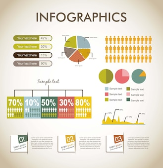 Infographics over beige backgrond vintage stijl vector