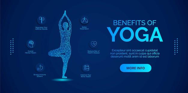 Infographics over de voordelen van yoga. ontwerpen voor banners, achtergronden, posters of kaarten.