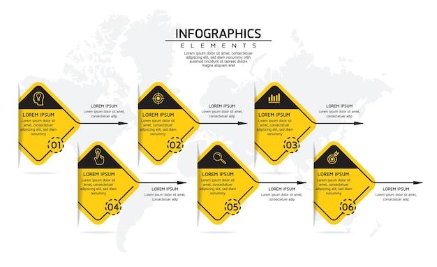 Infographics. presentatie en grafiek. stappen of processen. opties nummer workflowsjabloonontwerp, 6 stappen.