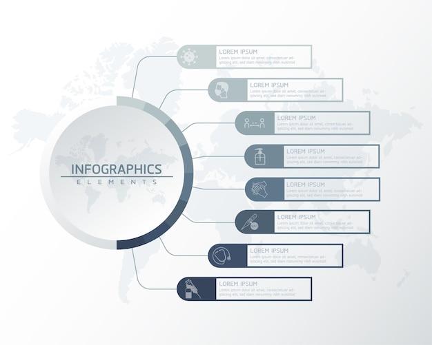 Infographics. presentatie en grafiek. stappen of processen. opties nummer workflowsjabloonontwerp, 8 stappen.