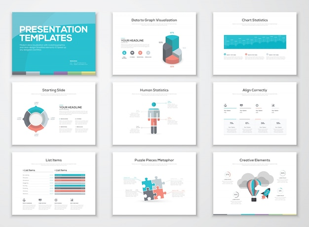 Infographics presentatie sjablonen en zakelijke brochures