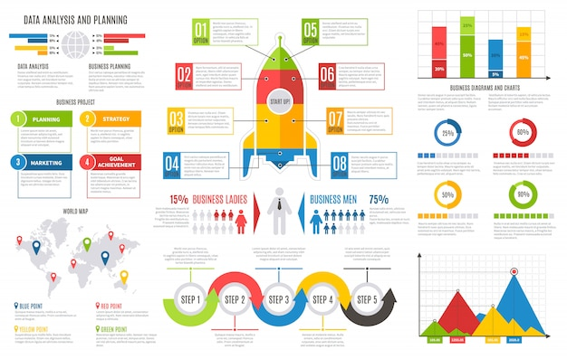Infographics rapport. financiële grafieken diagrammen staafdiagram zakelijke gebruikersinterface ontwerp presentatie infographic sjabloon
