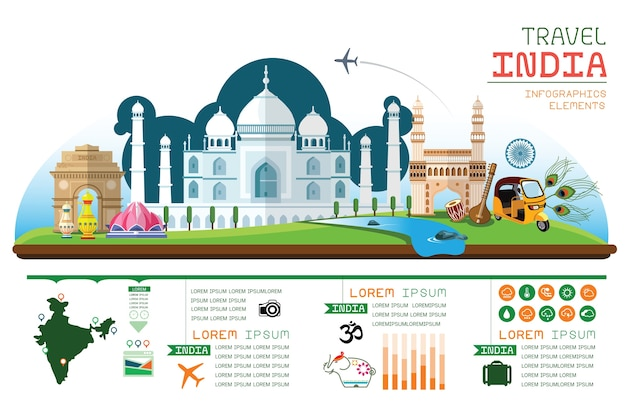 Infographics reizen india vector.