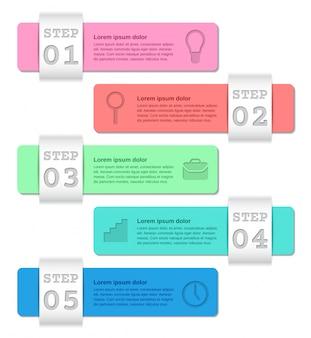 Infographics sjablonen met 5 stappen