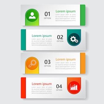 Infographics sjabloon 4 opties met rechthoek banner.