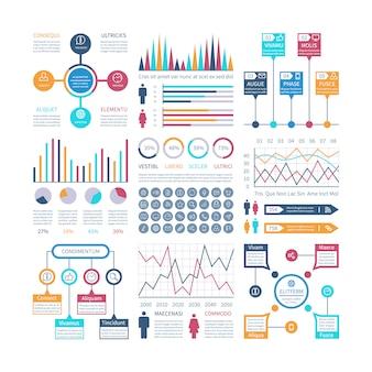 Infographics sjabloon. financiële grafieken, trends grafiek.