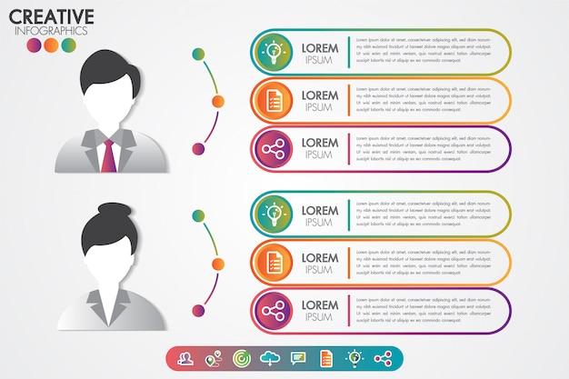 Infographics sjabloon man en vrouw symbool avatar met pictogrammen instellen.