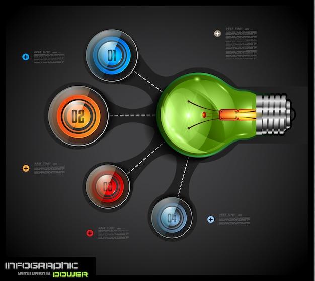 Infographics sjabloon met 4 keuzes verbonden met een gloeilamp