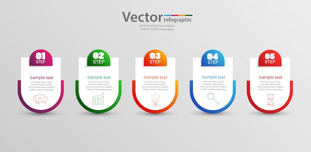 Infographics sjabloon met 5 stappen, opties of proces