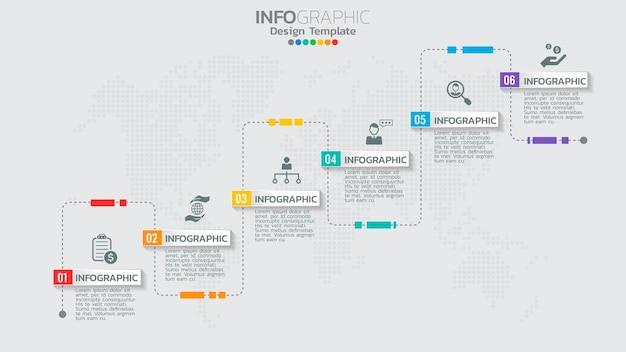 Infographics sjabloon met 6 elementen workflow proces grafiek.