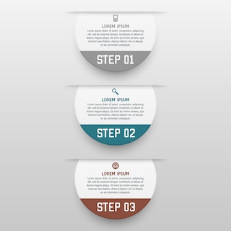 Infographics sjabloon met drie opties in materiële stijl. het kan worden gebruikt als een diagram, genummerde banner, presentatie, grafiek, rapport, web enz.