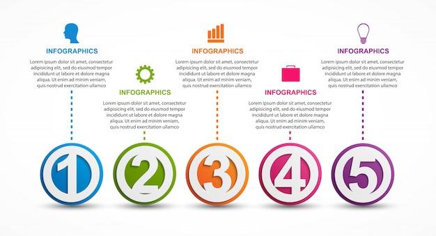 Infographics sjabloon met getallen optie.