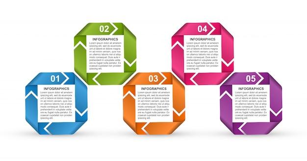Infographics sjabloon met linten voor presentaties.