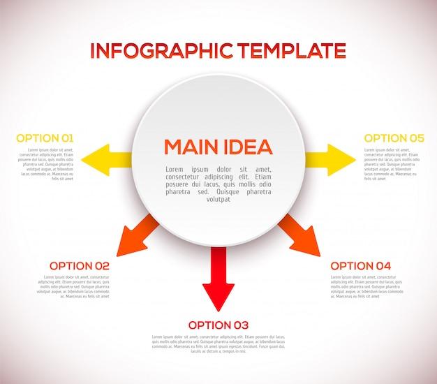 Infographics sjabloon met pijlen en 3d-cirkel.