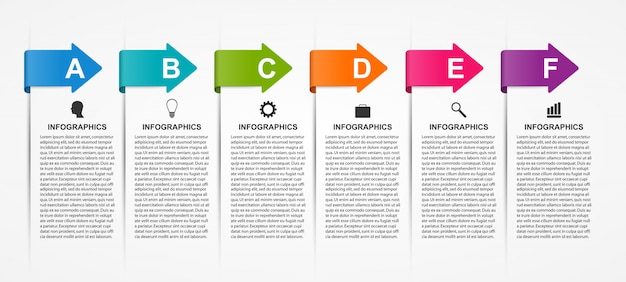 Infographics sjabloon met pijlen.