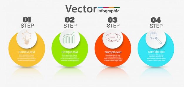 Infographics sjabloon met stappen of opties
