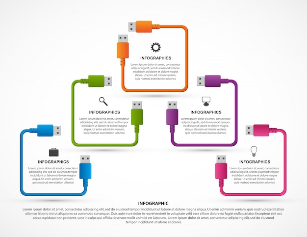 Infographics sjabloon. usb-kabel.