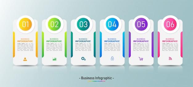 Infographics sjabloon zes opties