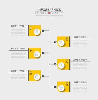 Infographics. stappen of processen. 6 stappen.