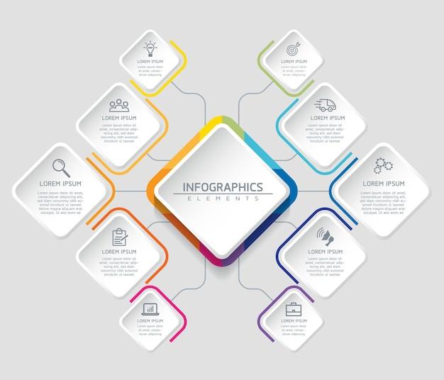 Infographics. stappen of processen. opties nummer workflow sjabloonontwerp. 10 stappen.