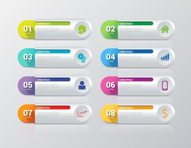 Infographics stappen vector sjabloon. 8 artikelen.
