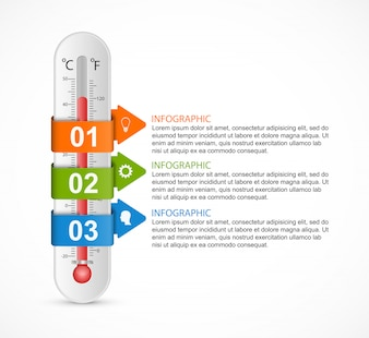 Infographics thermometer ontwerpsjabloon.