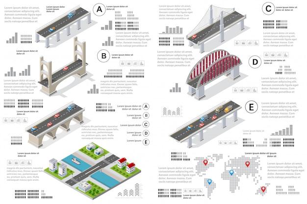 Infographics van bruggen in het veld