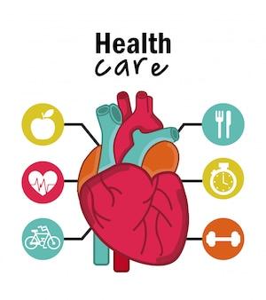 Infographics van cardiologieontwerp over witte achtergrond