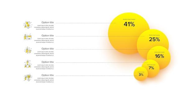 Infographics van de bedrijfsprocesgrafiek met stappencirkels