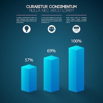 Infographics van de bedrijfswebpresentatie met 3d blauwe kolommen drie stappenpictogrammen en geïsoleerde percentages