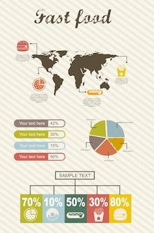 Infographics van vectorillustratie van de snel voedsel de uitstekende stijl