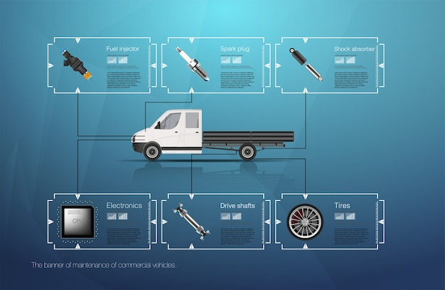 Infographics van vrachtvervoer en transport. sjabloon van auto infographics. abstracte virtuele grafische aanraakgebruikersinterface. diagnostische auto's.