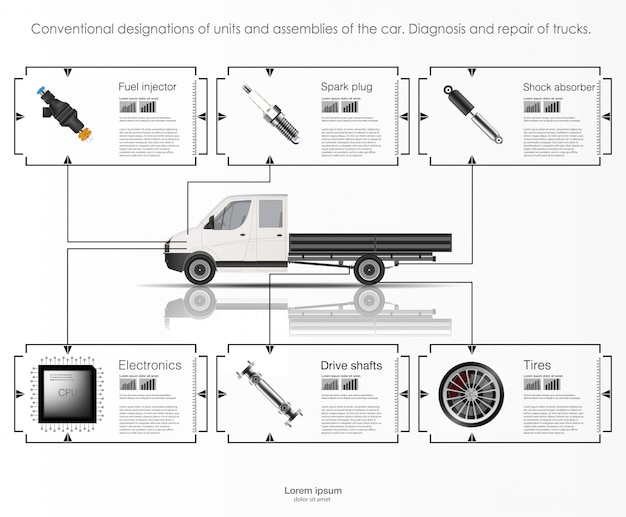 Infographics van vrachtvervoer en transport. sjabloon van auto infographics. abstracte virtuele grafische aanrakingsgebruikersinterface. diagnostische auto's. sjabloon mobiele auto reparatie-apps.