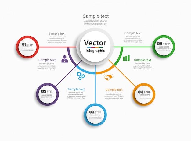 Infographics vector ontwerpconcept met 5 opties, stappen of processen