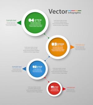 Infographics vector ontwerpsjabloon met 4 stappen
