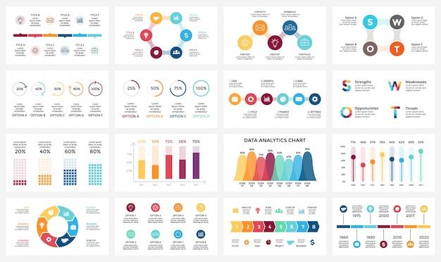 Infographics voor bedrijfsconcept instellen. isometrisch infographic-ontwerp -