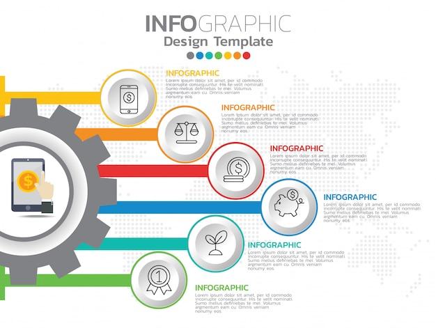 Infographics voor bedrijfsconcept met pictogrammen en 6 opties of stappen.