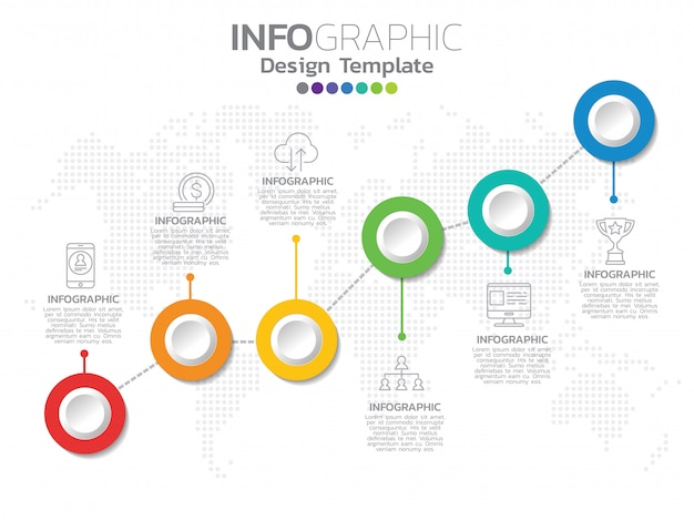 Infographics voor bedrijfspictogrammen en 6 opties of stappen.
