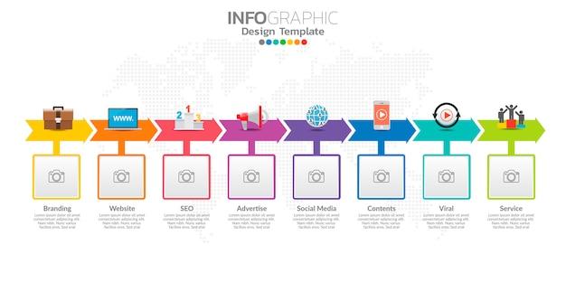 Infographics voor bedrijven met pictogrammen en opties of stappen.