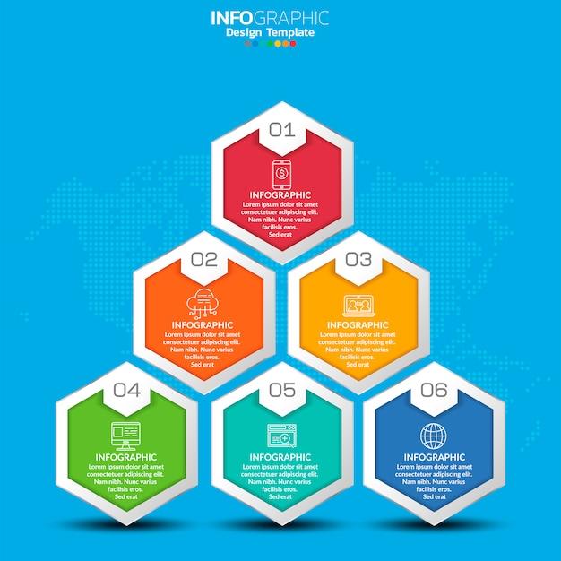 Infographics voor seo-concept met pictogrammen en stappen.