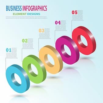 Infographics zakelijke sjabloon 3d cirkel stappen voor presentatie, verkoop voorspelling, stap voor stap