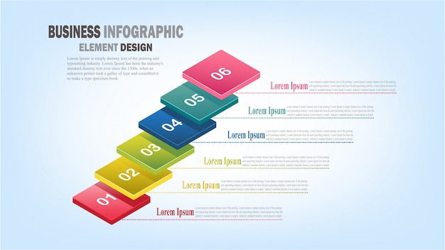 Infographics zakelijke sjabloon 3d-stappen voor presentatie, verkoopprognose, webontwerp, verbetering, stap voor stap