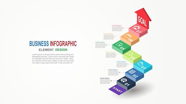 Infographics zakelijke sjabloon 3d trap met pijl 7 stappen