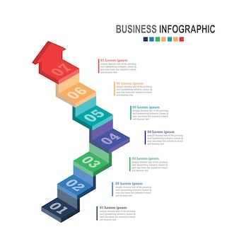 Infographics zakelijke sjabloon 3d-trap met pijl, stappen voor presentatie, verkoopprognose, verbetering, stap voor stap