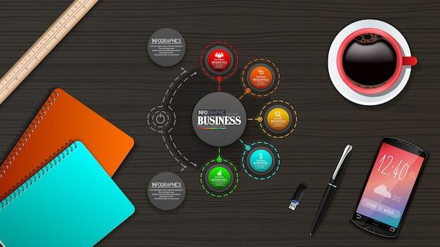 Infographics zakelijke sjabloon concept met 5 opties
